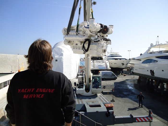 Yacht Engine Service - craning in an engine block